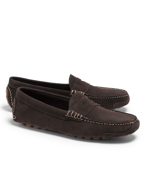 Suede Rough Out Driving Mocs Dark Brown