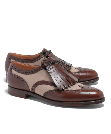 Peal  Co.A Leather and Canvas Wingtip Shoes
