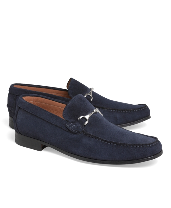 Suede Buckle Loafers Navy