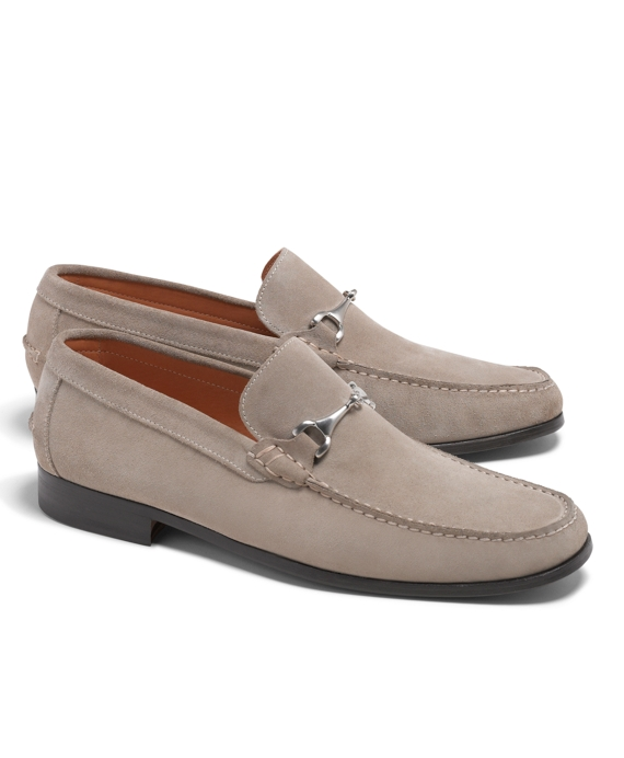 Suede Buckle Loafers Beige