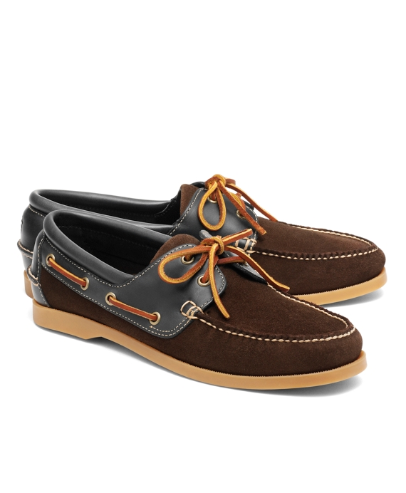 Suede and Leather Boat Shoes Brown-Navy