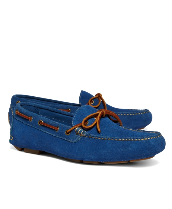 Suede Tie Driving Mocs Bright Blue
