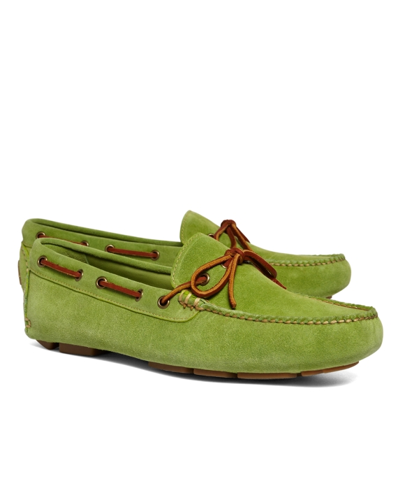 Suede Tie Driving Mocs Bright Green