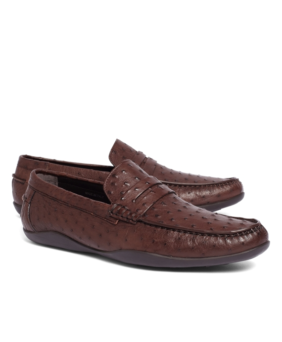 Harrys Of London® Basel Ostrich Penny Loafers Brown