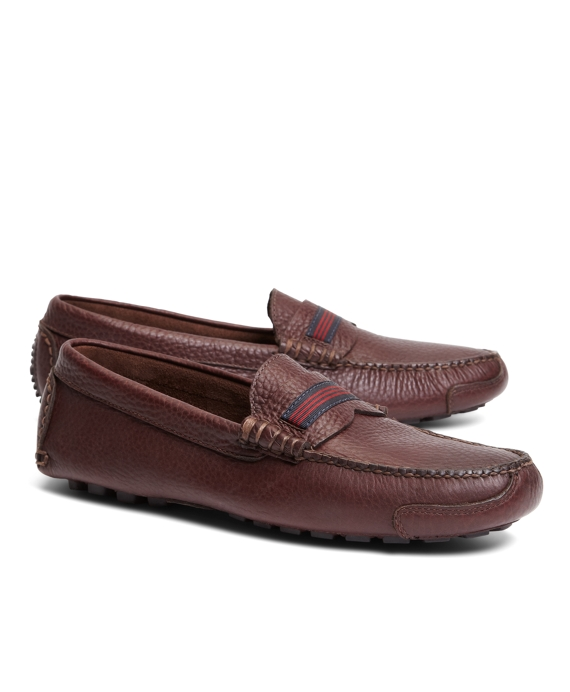 Grosgrain Stripe Driving Mocs Burgundy