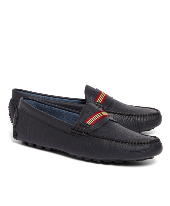 Grosgrain Stripe Driving Mocs Navy