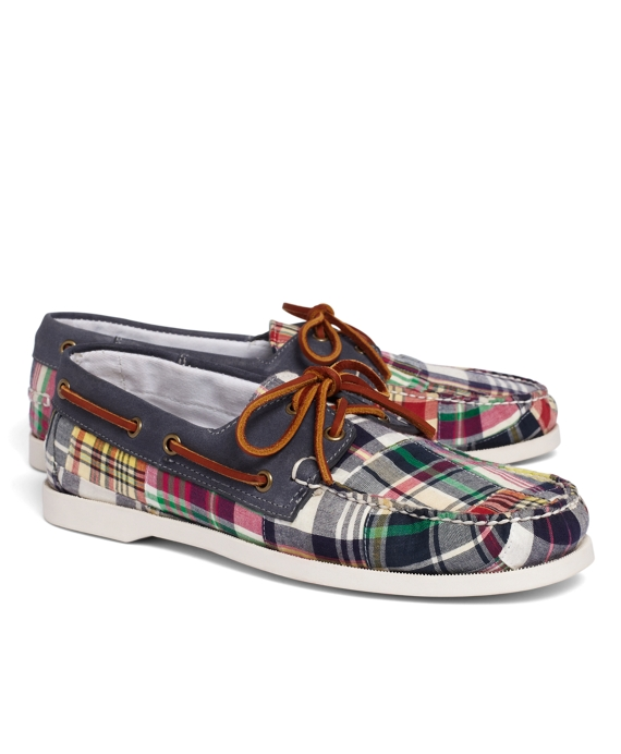 Patchwork Madras Boat Shoes Navy Multi