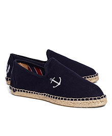 Anchor-Embroidered Canvas Espadrilles