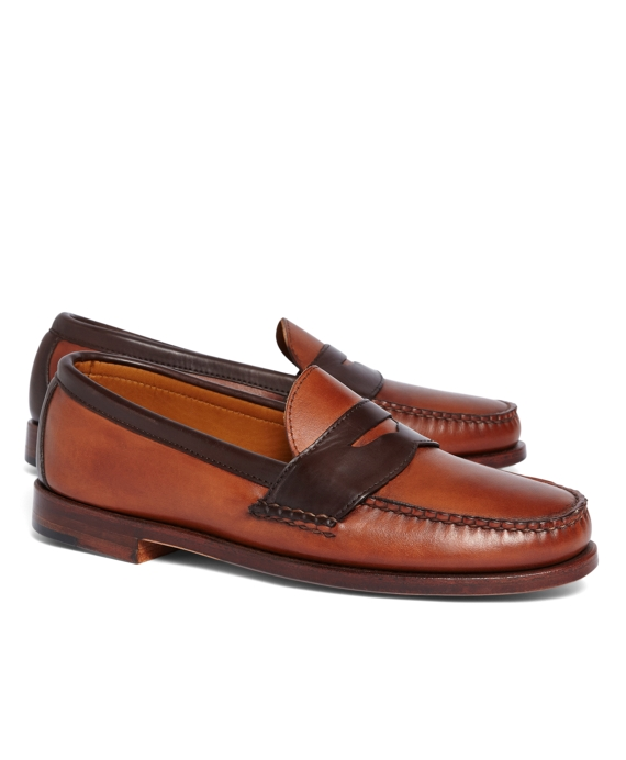 Rancourt & Co. Two-Tone Penny Loafers Tan-Dark Brown