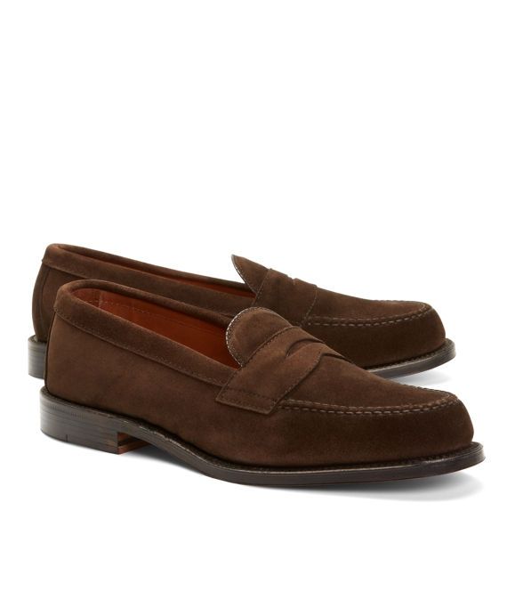 Handsewn Suede Penny Loafers Brown