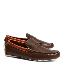 Harrys of London Oiled Kudu and Alligator Penny Driving Loafers