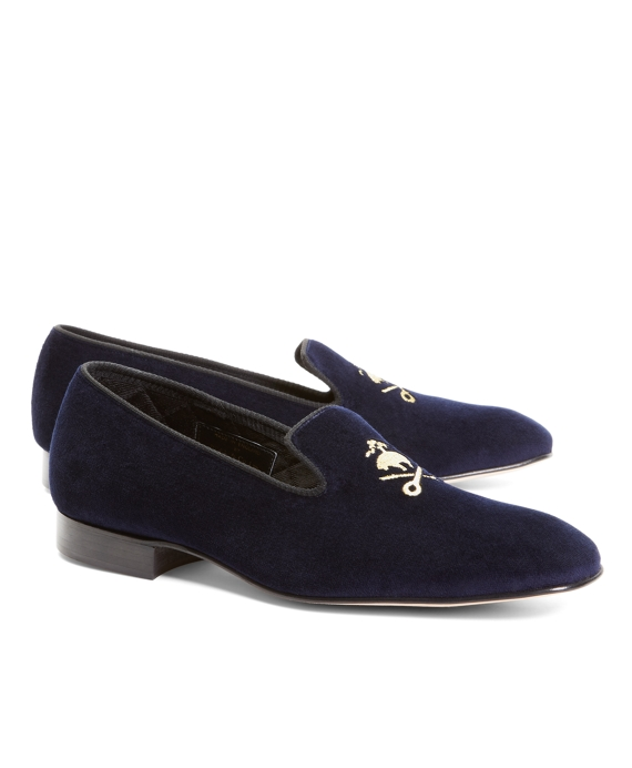 Velvet Fleece and Shears Slippers Navy