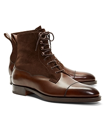Edward Green Galway Suede and Leather Boots