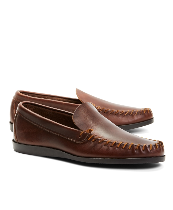 Rancourt & Co. Leather Whipstitch Vent Loafers Brown