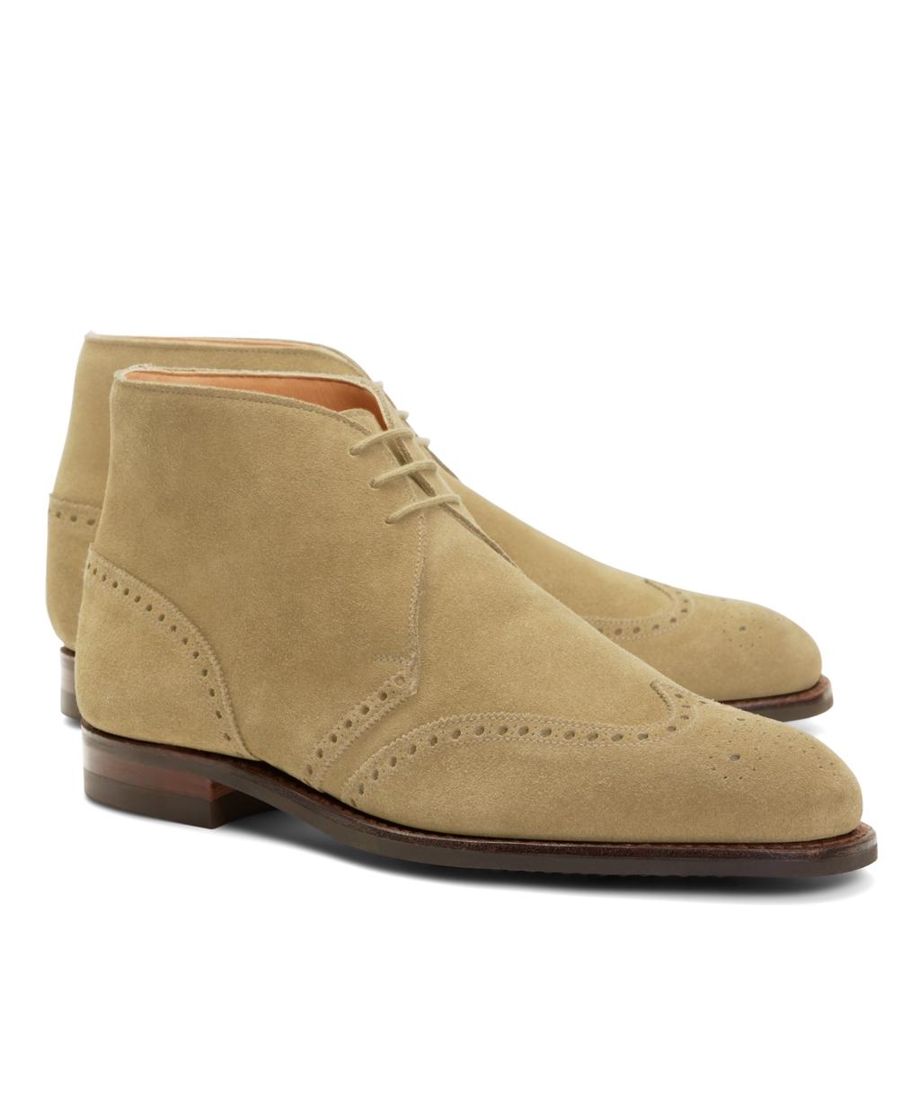 Mens Suede Wingtip Boots Suede Wingtip Boots Brown