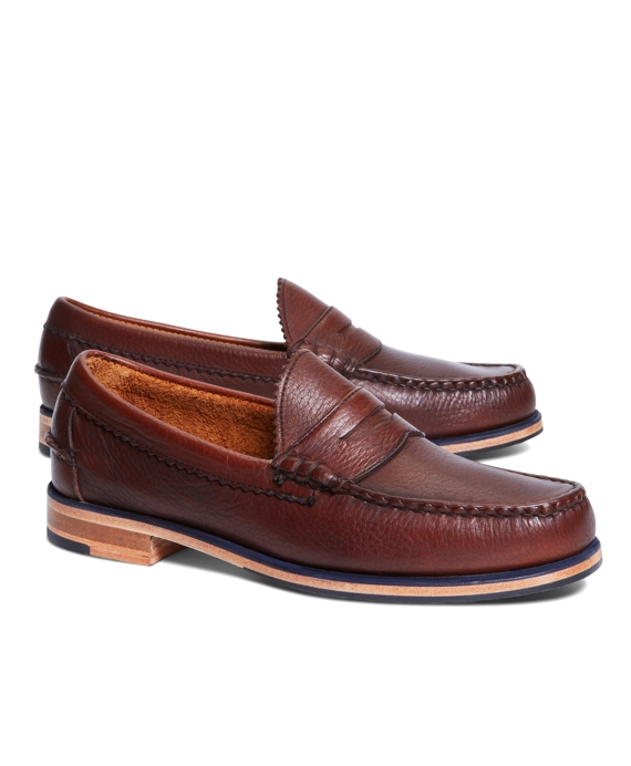 Tumbled Leather Popped Midsole Penny Loafers Brown