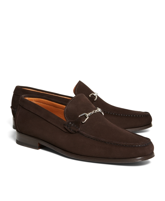 Suede Buckle Loafers Brown