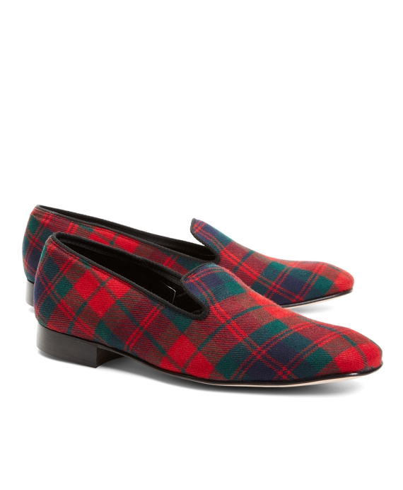 Wool Brooks Brothers Tartan Slippers Red