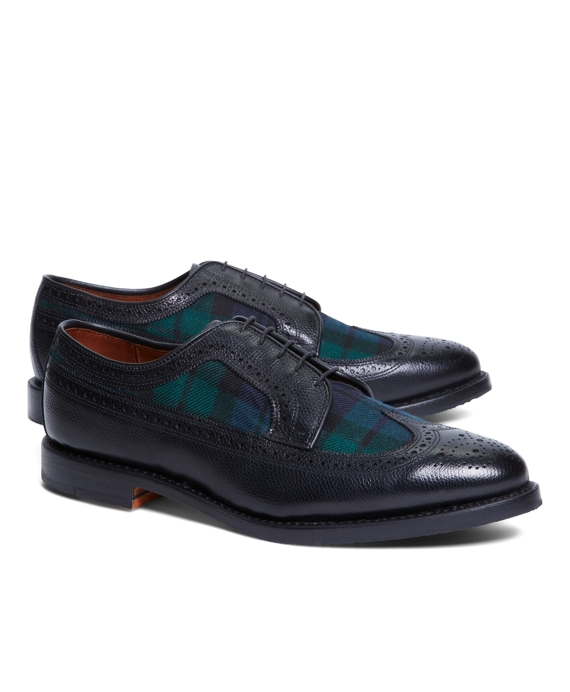 Leather and Wool Brogues Black-Green-Navy