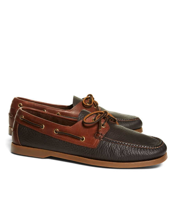 Contrasting Leather Boat Shoes