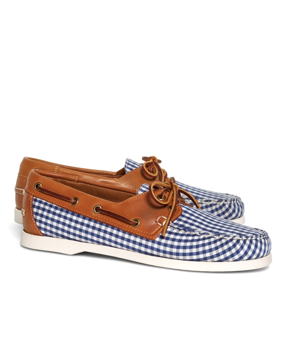 Gingham Boat Shoes Navy