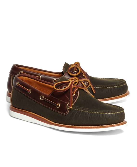 Rancourt & Co. Waxed Canvas Boat Shoes Green