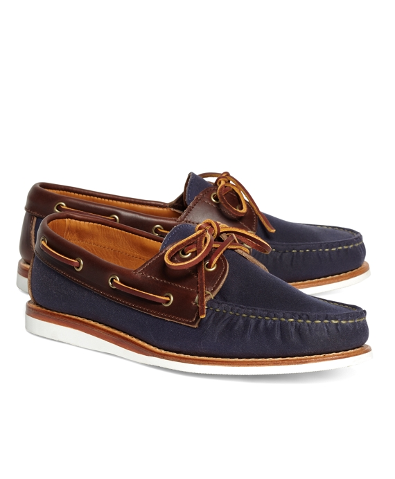 Rancourt & Co. Waxed Canvas Boat Shoes Navy