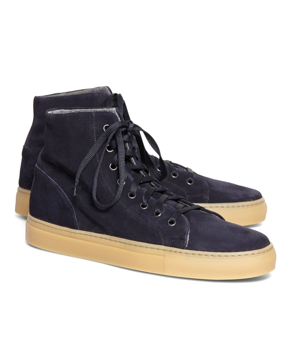 1950s Style Mens Shoes High Top Suede Sneaker $248.00 AT vintagedancer.com