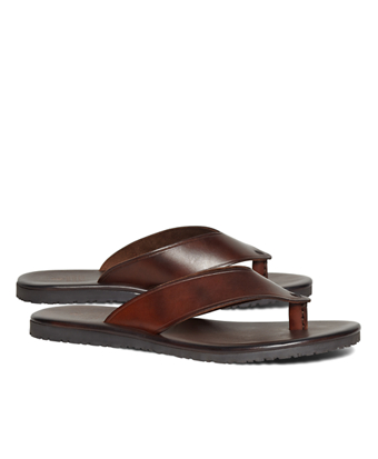 Wide Strap Leather Flip-Flops