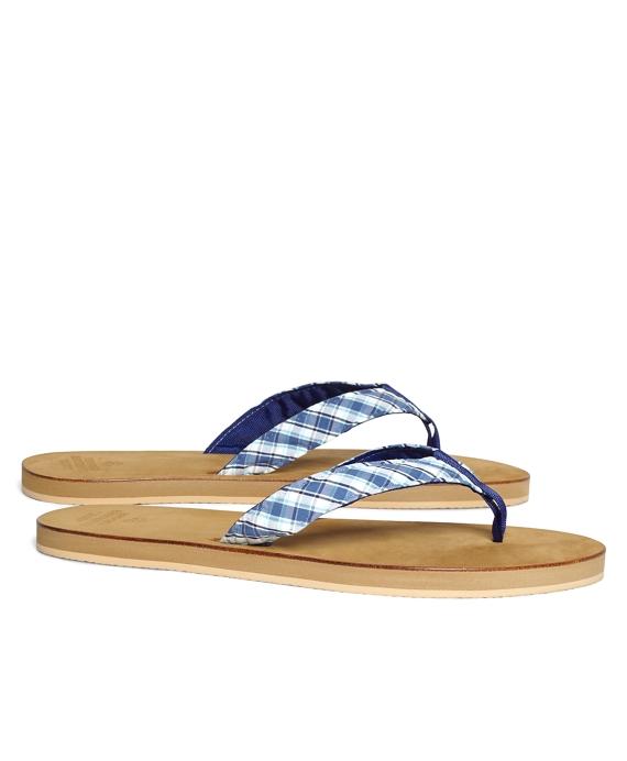 Seersucker Plaid Flip-Flops Navy