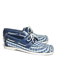Seersucker Plaid Boat Shoes