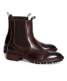 Wingtip Lug Sole Chelsea Boot