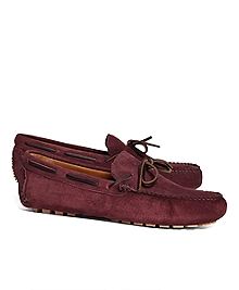 Suede Tie Driving Moccasins