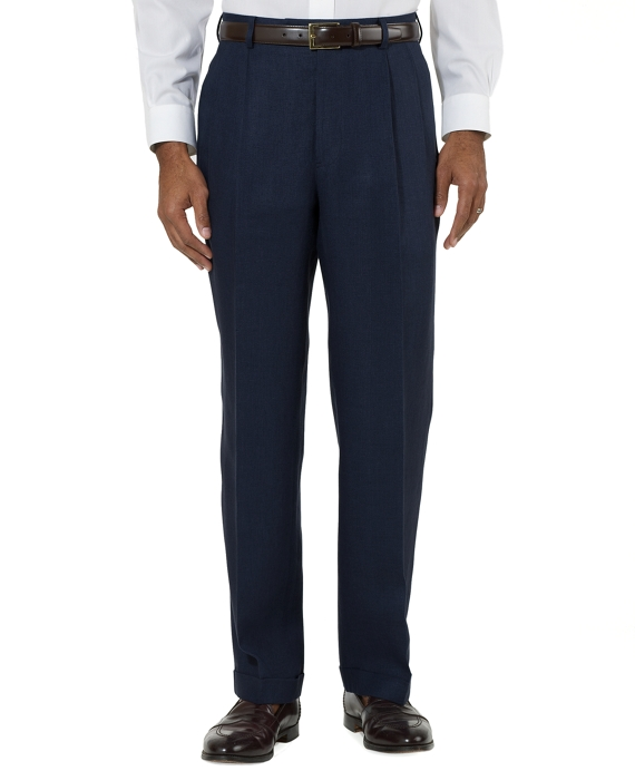 Irish Linen Pleat-Front Trousers Navy