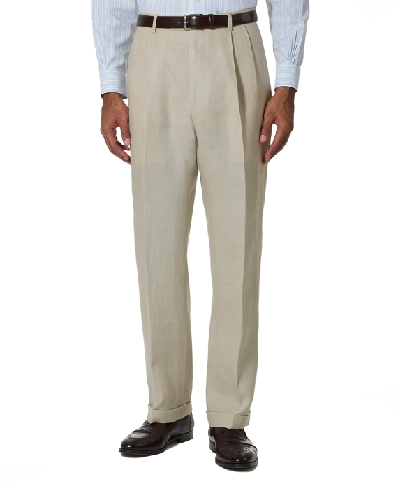Irish Linen Pleat-Front Trousers Stone