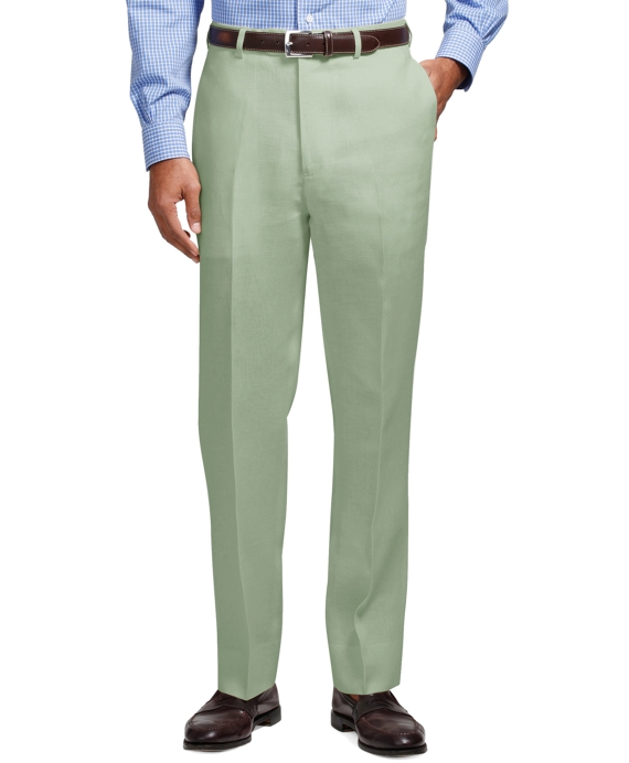 Madison Fit Plain-Front Irish Linen Trousers Green