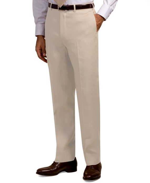 Madison Fit Plain-Front Irish Linen Trousers Stone
