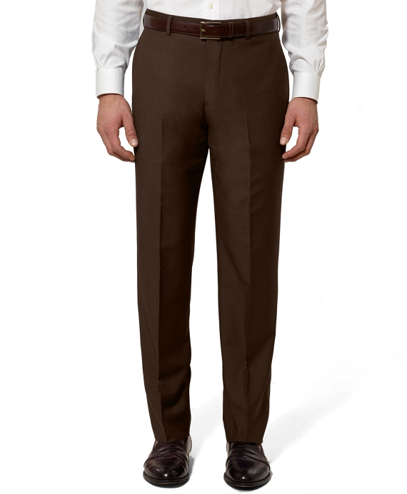 Regent Fit Plain-Front Wool and Mohair Trousers Brown