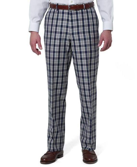Regent Fit Plain-Front Tartan Trousers Blue