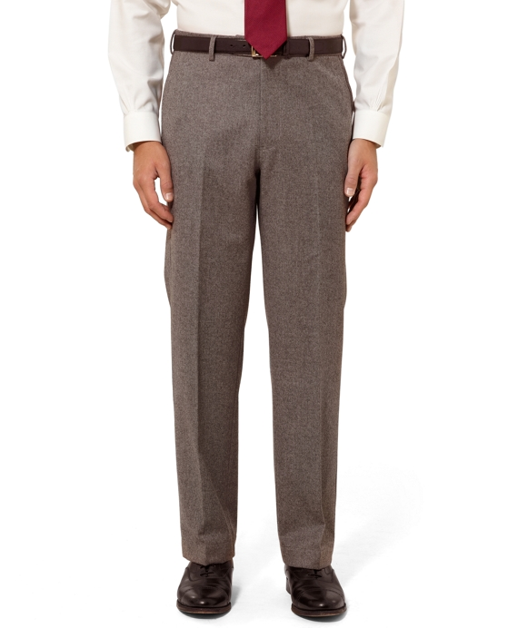 Madison Fit Plain-Front Flannel Trousers Brown