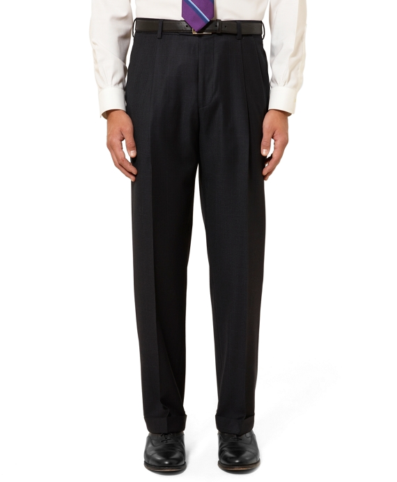 Madison Fit Pleat-Front Windowpane Check Flannel Trousers Navy