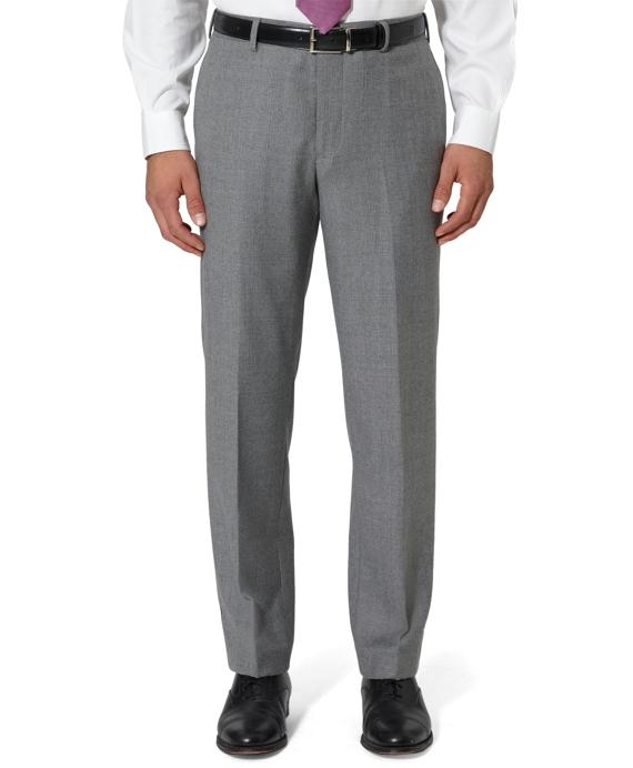 Milano Fit Plain-Front Glen Plaid Trousers Grey