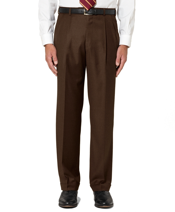 Golden Fleece® Saxxon Wool Pleat-Front Madison Fit Trousers Brown
