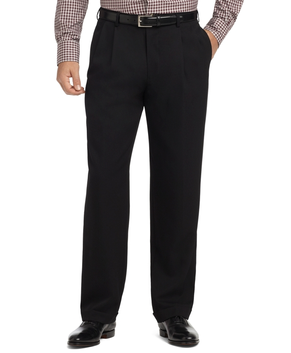 Madison Fit Pleat-Front Unfinished Gabardine Trousers Black