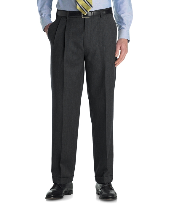 Madison Fit Pleat-Front Unfinished Gabardine Trousers Charcoal