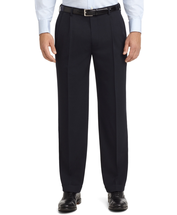 Madison Fit Pleat-Front Unfinished Gabardine Trousers Navy