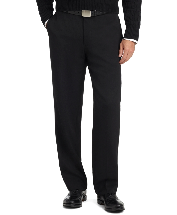 Madison Fit Plain-Front Unfinished Gabardine Trousers Black