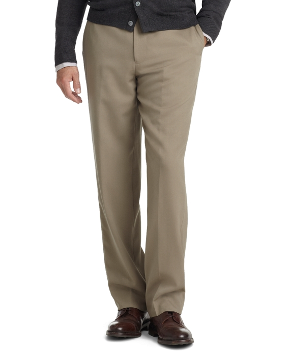 Madison Fit Plain-Front Unfinished Gabardine Trousers British Tan