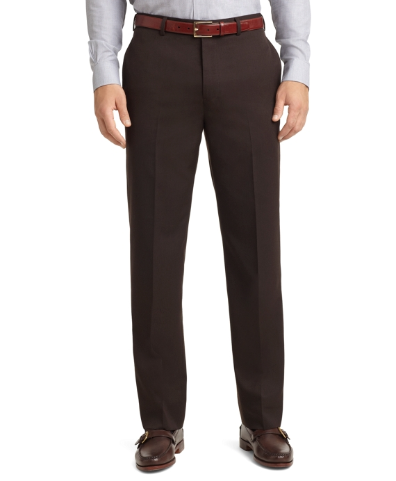 Madison Fit Plain-Front Unfinished Gabardine Trousers Brown