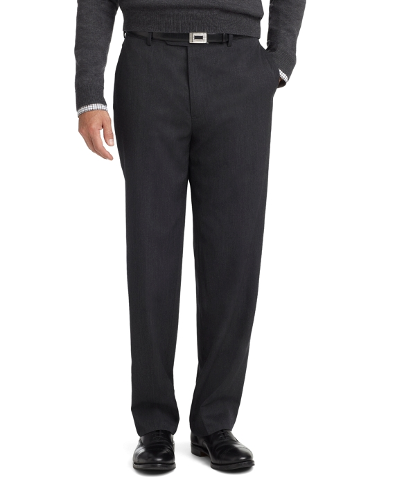 Madison Fit Plain-Front Unfinished Gabardine Trousers Charcoal